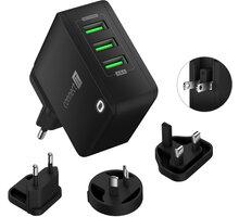 CONNECT IT nabíjecí adaptér Nomad2 WorldTravel, cestovní, 3xUSB, 24W, černá - CWC-3310-BK