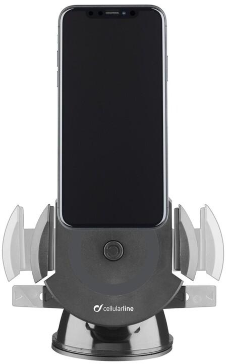 CellullarLine univerzální držák Pilot Active s přísavkou a funkcí bezdrátového nabíjení, černá