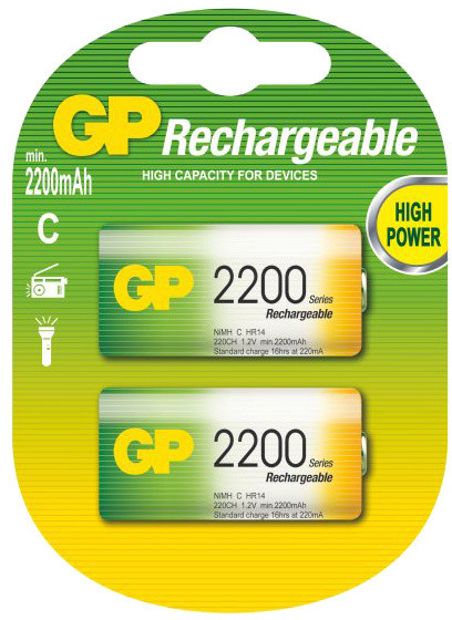 GP Rechargeable, nabíjecí HR14 2200 Ni-MH, 2ks