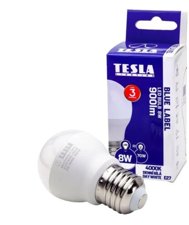Tesla LED žárovka miniglobe BULB, E27, 8W, 4000K, denní bílá