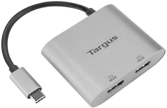 Targus adaptér USB-C - 2x HDMI, M/F, 4K, stříbrná