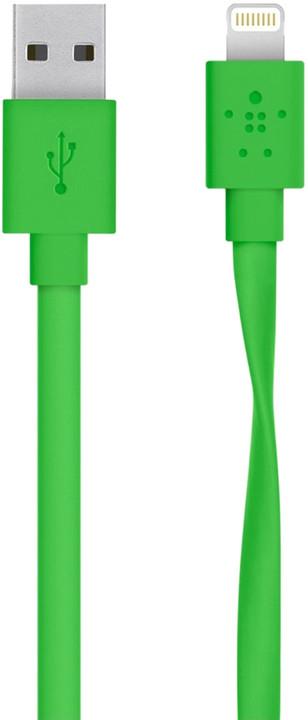 Belkin Mixit s Lightning konektorem, Flat, 1.2m, zelená