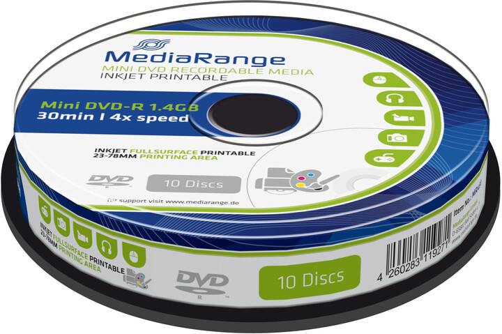 MediaRange DVD-R 8cm 1,4GB 4x, Printable, Spindle 10ks