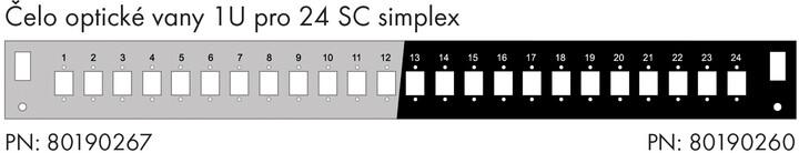 Solarix čelo optické vany 1U, pro 24 SC simplex, RAL 7035, s montážními otvory