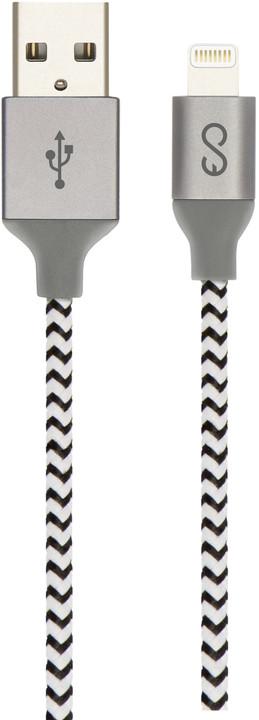 EPICO opletený Lightning kabel 1,8m - černá/bílá (MFi)
