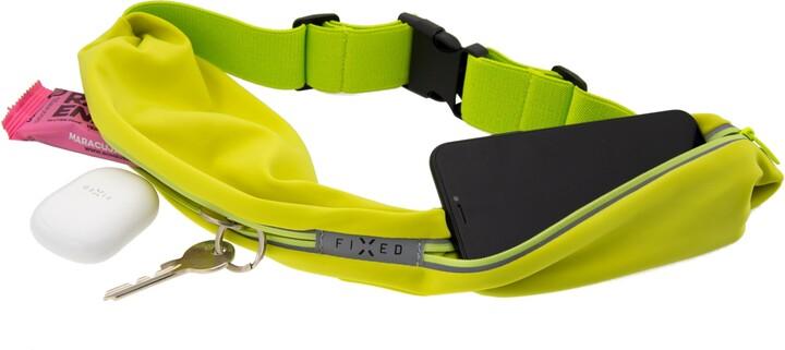 FIXED sportovní opasek Sportbelt Duo se dvěma kapsami, univerzální, limetkový