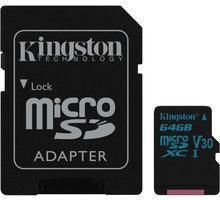 Kingston Micro SDXC Canvas Go! 64GB 90MB/s UHS-I U3 + SD adaptér SDCG2/64GB