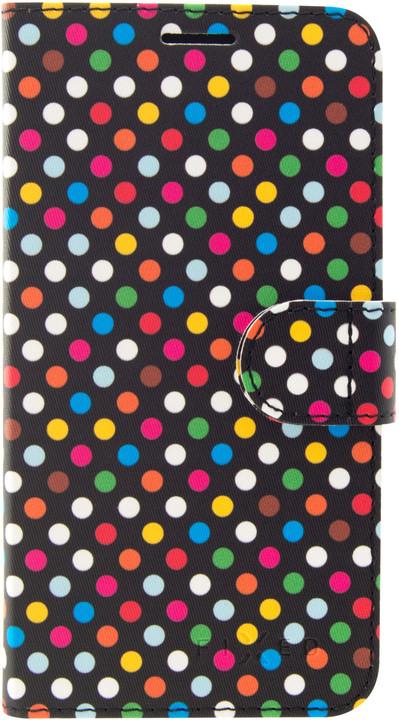 FIXED FIT pouzdro typu kniha pro Samsung Galaxy J4+, motiv Rainbow Dots