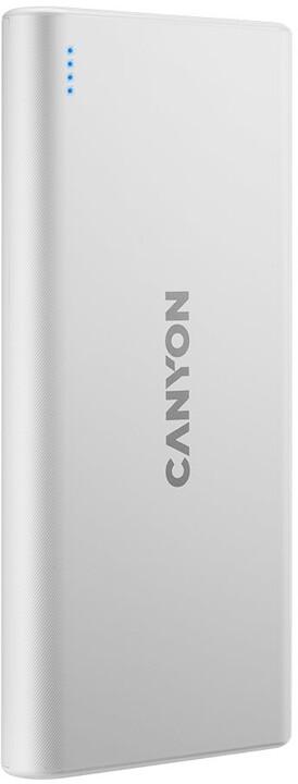 CANYON powerbanka 10000mAh, 2xUSB-A, 5V/2.1A, bílá