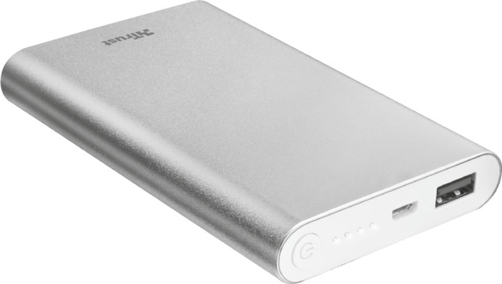 Trust Ula Thin Metal PowerBank 8000 mAh, stříbrná