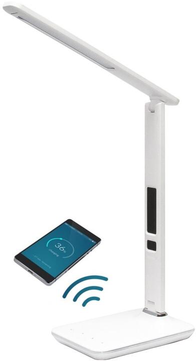 IMMAX LED stolní lampička Kingfisher, Qi nabíjení, bílá