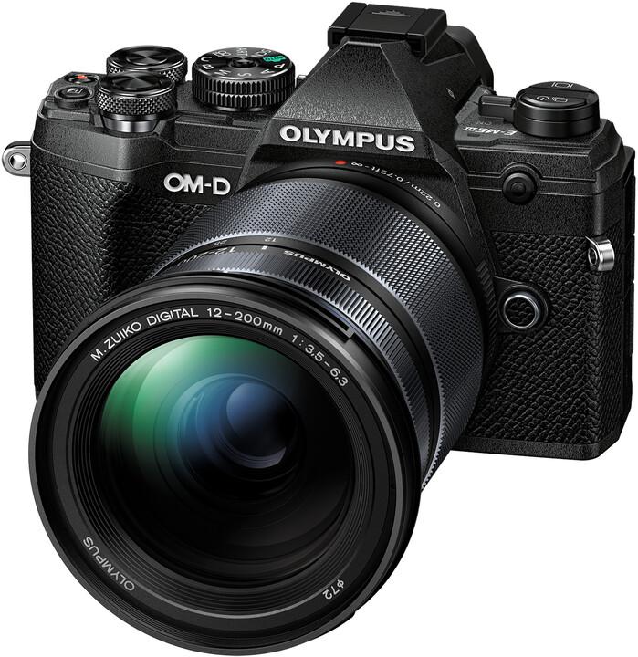 Olympus E-M5 Mark III + 12-200mm II, černá/černá