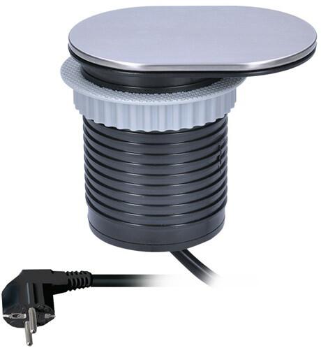 Solight USB 1x vestavná zásuvka + 1x USB s posuvným víčkem, prodlužovací přívod 1,9m