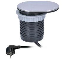 Solight USB 1x vestavná zásuvka + 1x USB s posuvným víčkem, prodlužovací přívod 1,9m - PP124