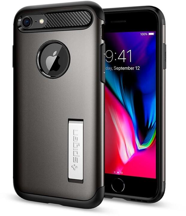 Spigen ochranný kryt Slim Armor pro iPhone 7/8, gunmetal + ochranné sklo