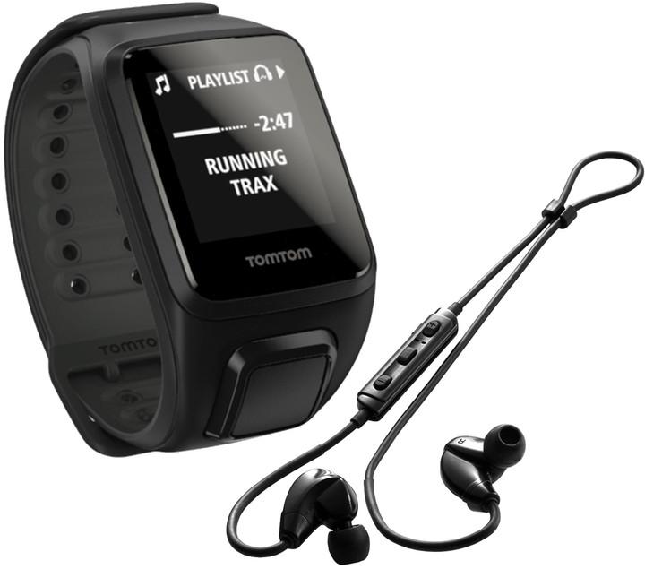 TOMTOM Spark Fitness Cardio + Music (L), černá + bluetooth sluchátka