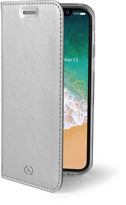 CELLY Air Ultra tenké pouzdro typu kniha pro Apple iPhone X, PU kůže, stříbrné
