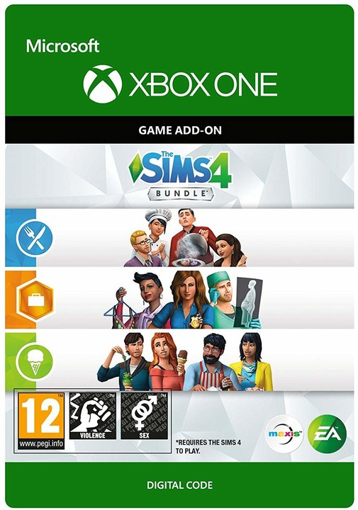 The Sims 4 Bundle (Cool Kitchen Stuff, Dine Out a Get to Work) (Xbox ONE) - elektronicky