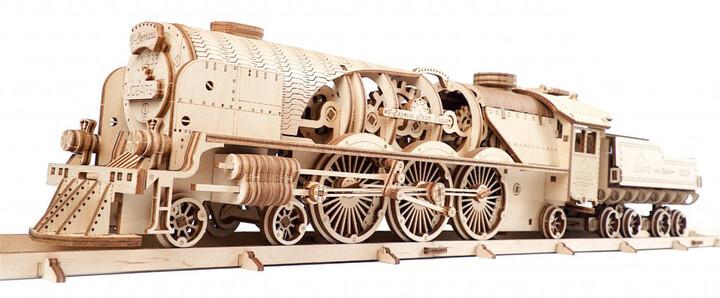 UGEARS stavebnice - Lokomotiva V-express s vagónem, dřevěná, mechanická