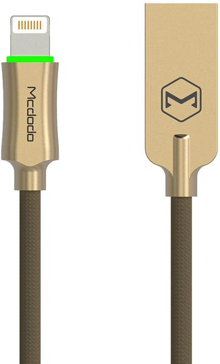 Mcdodo Knight datový kabel Lightning s inteligentním vypnutím napájení, 1.2m, zlatá