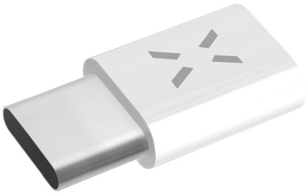 FIXED redukce pro nabíjení a datový přenos z microUSB na USB Type-C 2.0, bílá