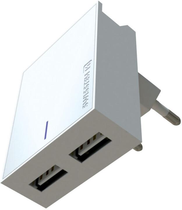 SWISSTEN síťový adaptér SMART IC, CE 2x USB 3 A Power + datový kabel USB/Micro USB 1,2m, bílá