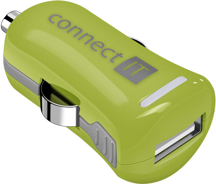 CONNECT IT InCarz COLORZ auto adaptér 1xUSB 2,1A, zelená (V2)