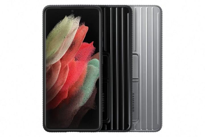 Samsung ochranný kryt Protective Standing pro Samsung Galaxy S21 Ultra, se stojánkem, světle šedá