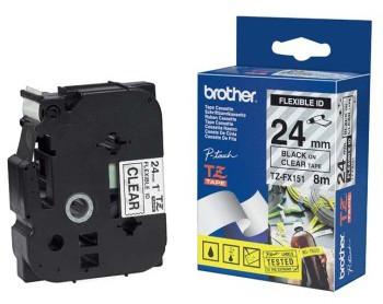 Brother TZE-FX251, průsvitná/černá, 24mm