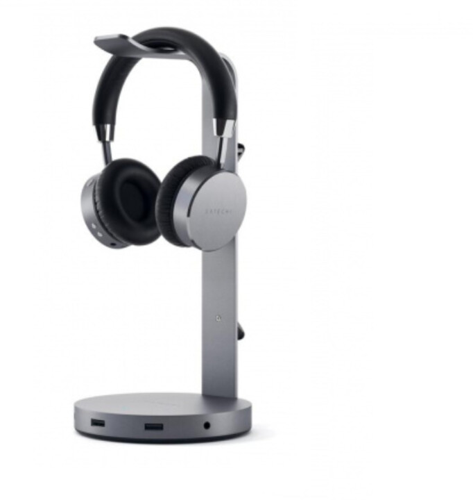 Satechi Aluminum Headphone Stand Hub, šedá