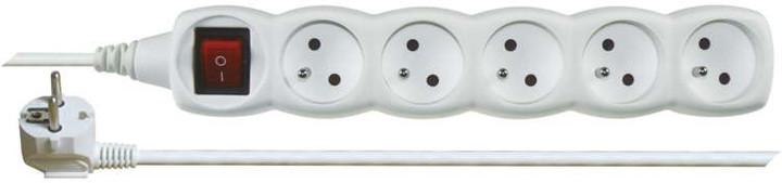 Emos prodlužovací kabel s vypínačem – 5 zásuvek, 3m, bílá