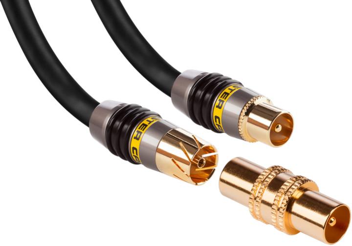 Monster koaxiální anténní kabel s masivními konektory pokovenými 24 karátovým zlatem, 3m