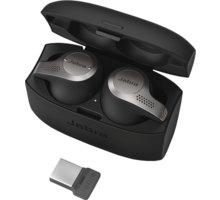 Jabra Evolve 65t, MS (USB dongle), titanově černá O2 TV Sport Pack na 3 měsíce (max. 1x na objednávku)