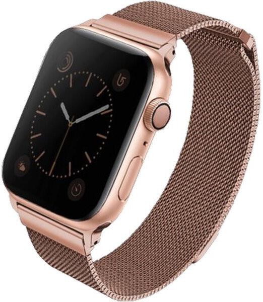 UNIQ řemínek Dante Apple Watch Series 4 Mesh Steel 44mm, růžovo/zlatá