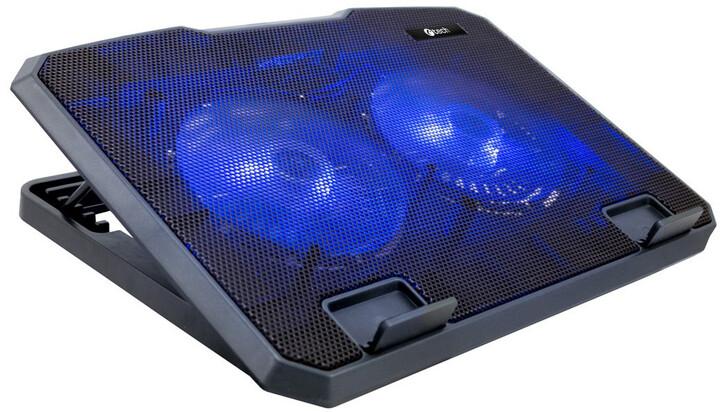 """C-TECH chladící podložka CLP-140, 15,6"""", 2x 140mm, 2x USB, modré podsvícení"""