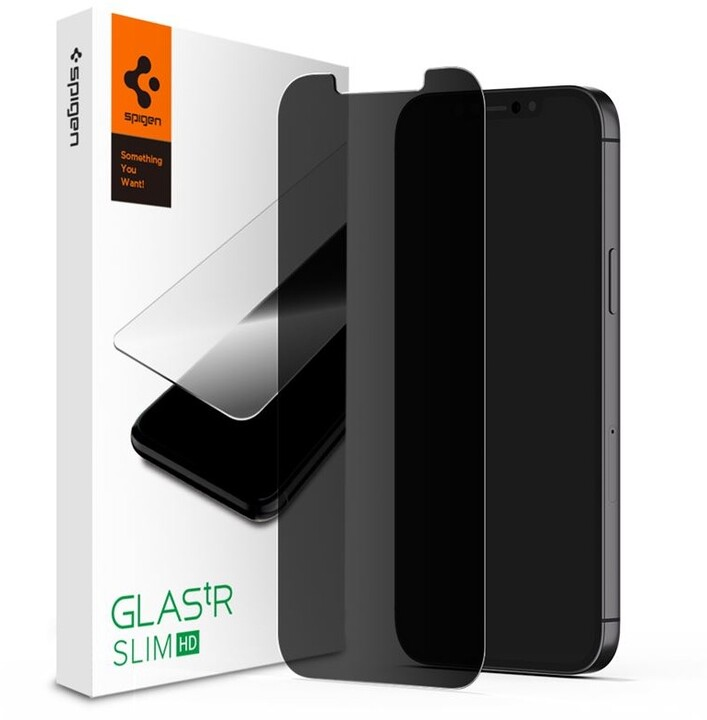 Spigen ochranné sklo tR HD pro iPhone 12/12 Pro, Privacy, čirá