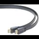 PremiumCord kabel HDMI, M/M, High Speed + Ethernet, plochý, zlacené konektory, 1.5m, černá
