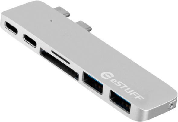 eSTUFF USB-C Slot-in Hub Pro, stříbrná