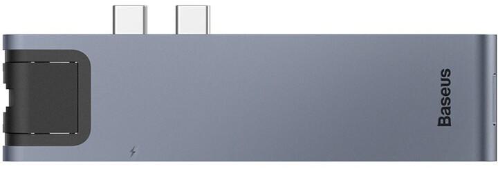 Baseus HUB dokovací stanice Dual USB-C 7v1 pro Mac Book Pro 2016/2017, šedá