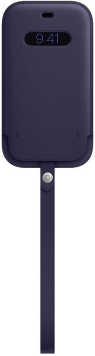 Apple kožený návlek s MagSafe pro iPhone 12/12 Pro, tmavě fialová