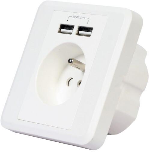 Gembird nabíječka, 2x USB, bílá