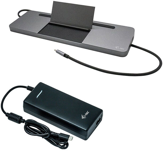 i-tec USB-C Metal Ergonomic 4K 3x Display Docking Station + i-tec Universal Charger 112 W