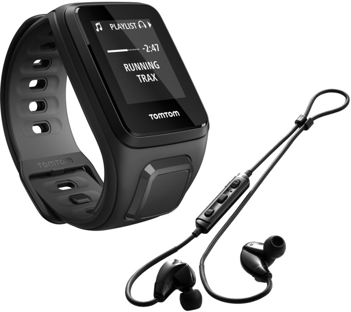 TOMTOM Runner 2 Cardio + Music (velikost S), černá/antracit + bluetooth sluchátka