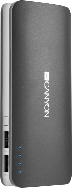 Canyon powerbanka 13000 mAh, micro USB input 5V/2A, USB output 5V/2,4A (max.), šedá