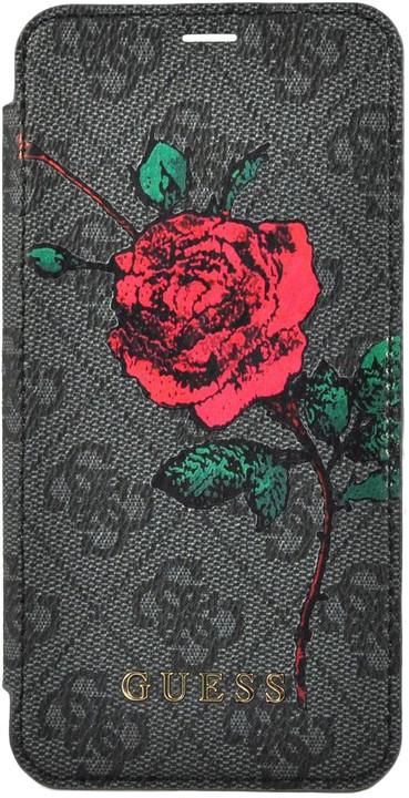 GUESS Flower Desire 4G flipové pouzdro pro iPhone 7/8 Plus, Grey