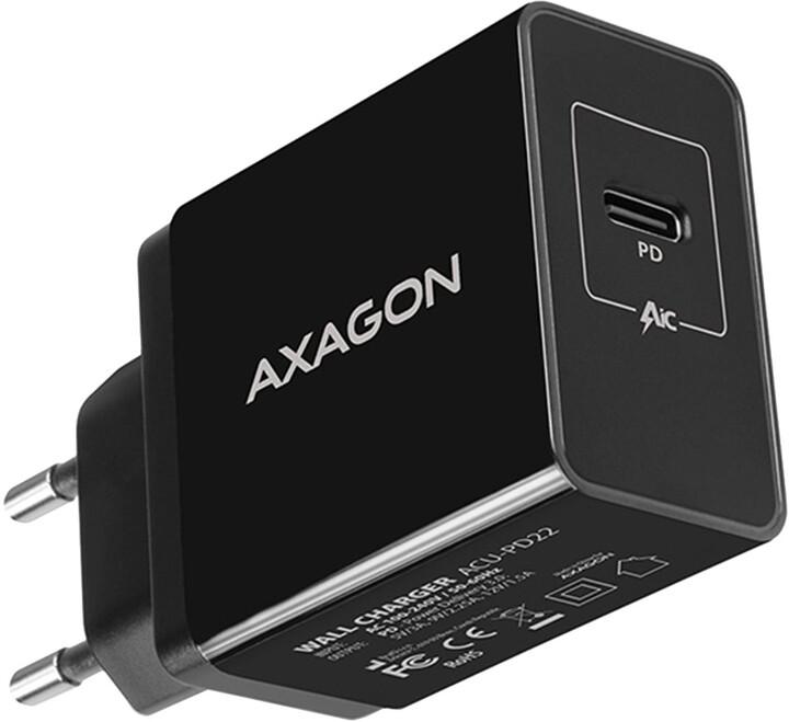 AXAGON šíťová nabíječka , USB-C PD3.0, 22W, černá