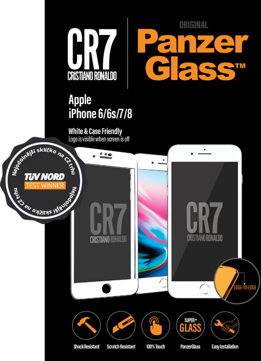 PanzerGlass Edge-to-Edge pro Apple iPhone 6/6s/7/8, bílé CR7