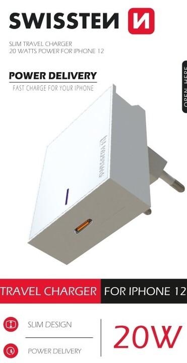 SWISSTEN síťový adaptér pro iPhone 12, 20W, bílá