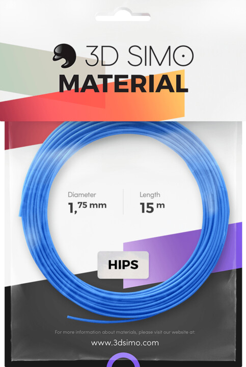 3Dsimo materiál - HIPS (modrá, růžová, zlatá)