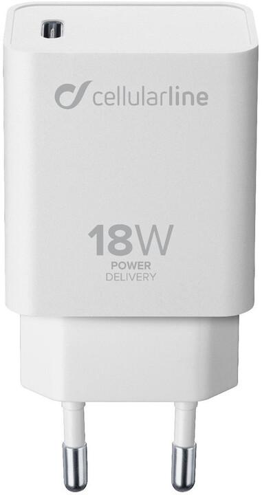 CellularLine síťová nabíječka s USB-C konektorem, Power Delivery (PD), 18 W, bílá